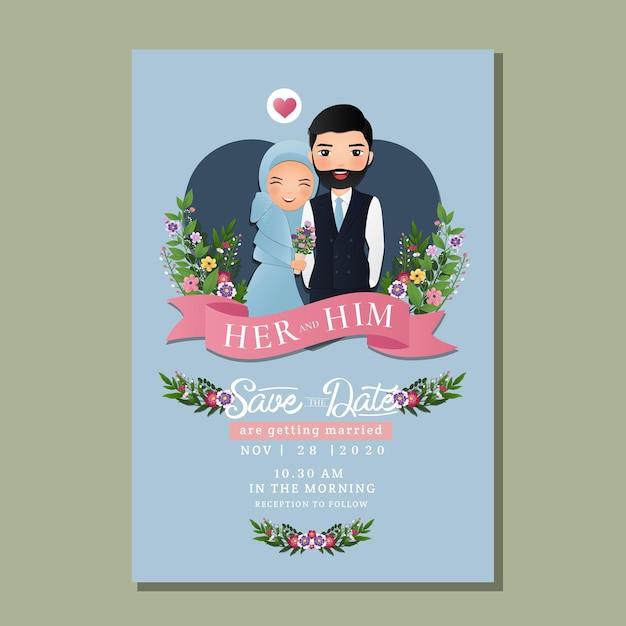 Hochzeitseinladungskarte die braut und bräutigam niedlichen muslimischen paar cartoon. Premium Vektoren
