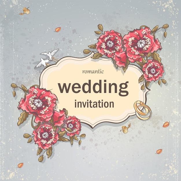 Hochzeitseinladungskarte für ihren text auf einem grauen hintergrund mit mohnblumen, eheringen und tauben Premium Vektoren