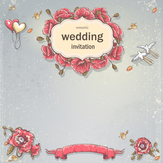 Hochzeitseinladungskarte für ihren text auf einem grauen hintergrund mit mohnblumen, luftballons und tauben Premium Vektoren