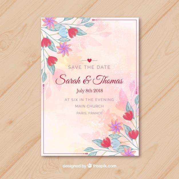 Hochzeitseinladungskarte In Der Aquarellart Download Der
