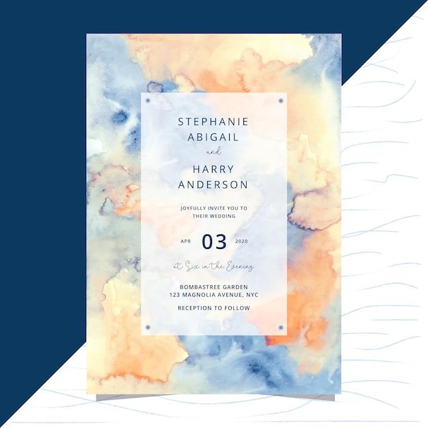 Hochzeitseinladungskarte mit abstraktem aquarellhintergrund Premium Vektoren