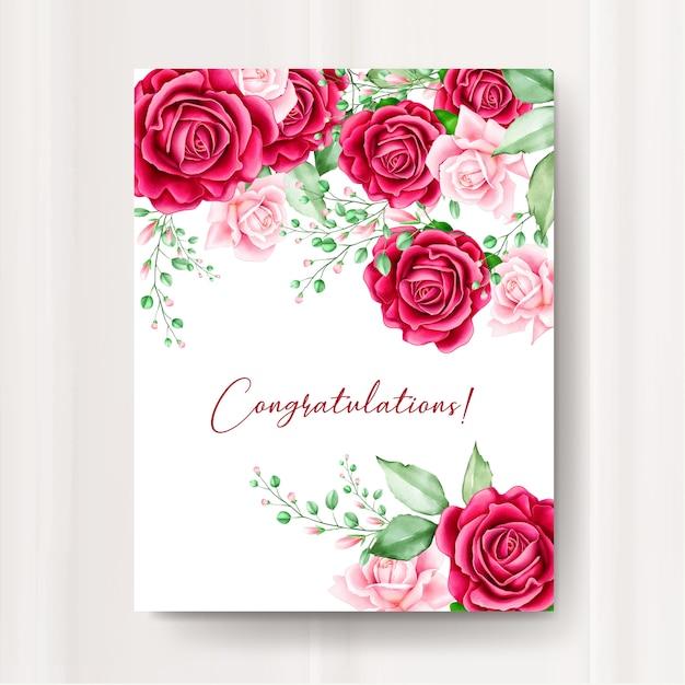 Hochzeitseinladungskarte mit aquarell blumenvorlage Premium Vektoren