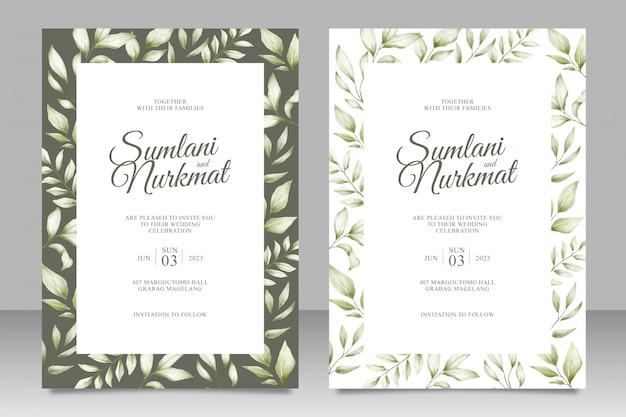 Hochzeitseinladungskarte mit blattaquarell Premium Vektoren