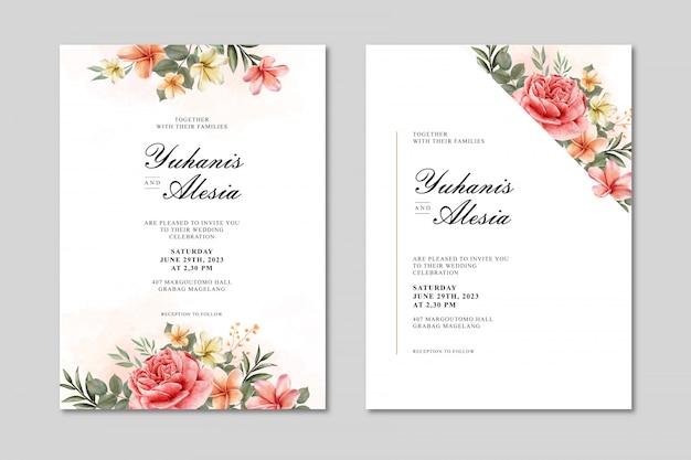 Hochzeitseinladungskarte mit blumen und blattaquarell Premium Vektoren