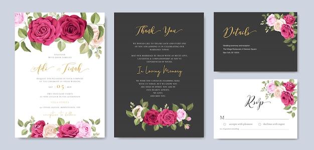 Hochzeitseinladungskarte mit blumen- und blattrahmenschablone Premium Vektoren