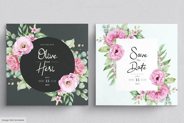 Hochzeitseinladungskarte mit blumen Kostenlosen Vektoren