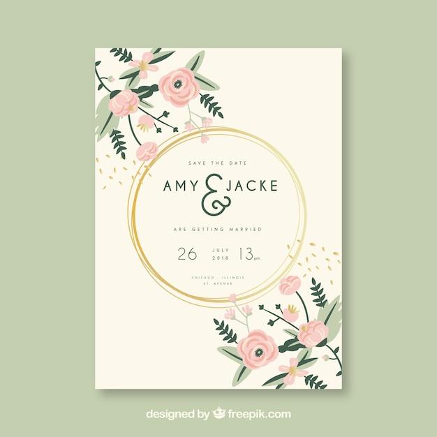 Hochzeitseinladungskarte Mit Blumen Kostenlose Vektoren