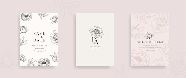 Hochzeitseinladungskarte mit blumenhand gezeichnetem vektor. Premium Vektoren