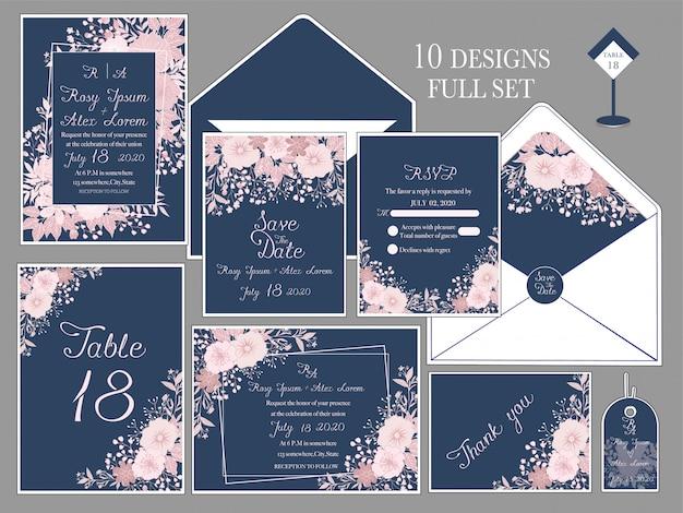 Hochzeitseinladungskarte mit blumenvorlagen. Premium Vektoren