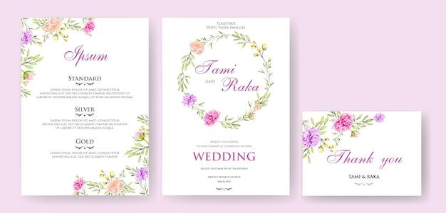 Hochzeitseinladungskarte mit buntem blumen und blättern Premium Vektoren