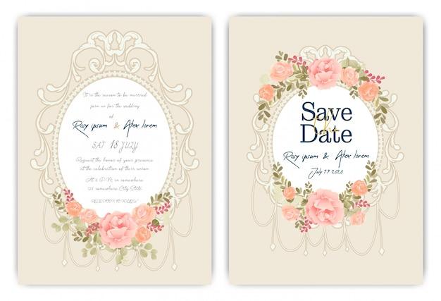 Hochzeitseinladungskarte mit buntem blumen und blättern. Premium Vektoren