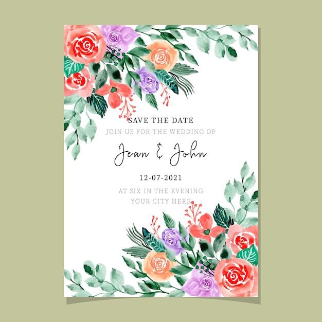Hochzeitseinladungskarte mit dem schönen aquarell mit blumen Premium Vektoren