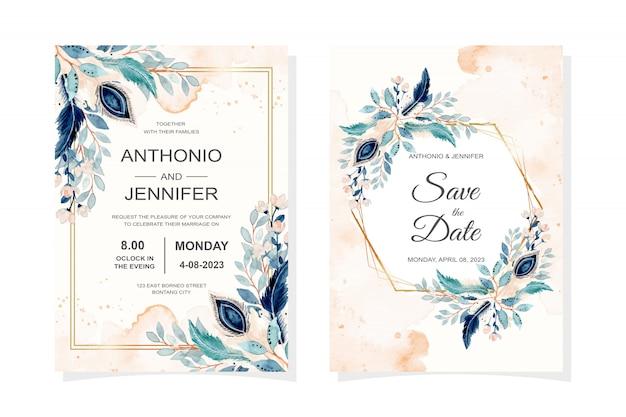 Hochzeitseinladungskarte mit feder und blauen blättern aquarell Premium Vektoren