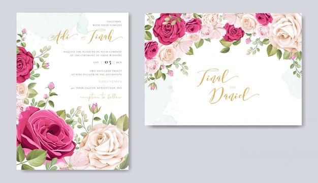 Hochzeitseinladungskarte mit floralen elementen Premium Vektoren