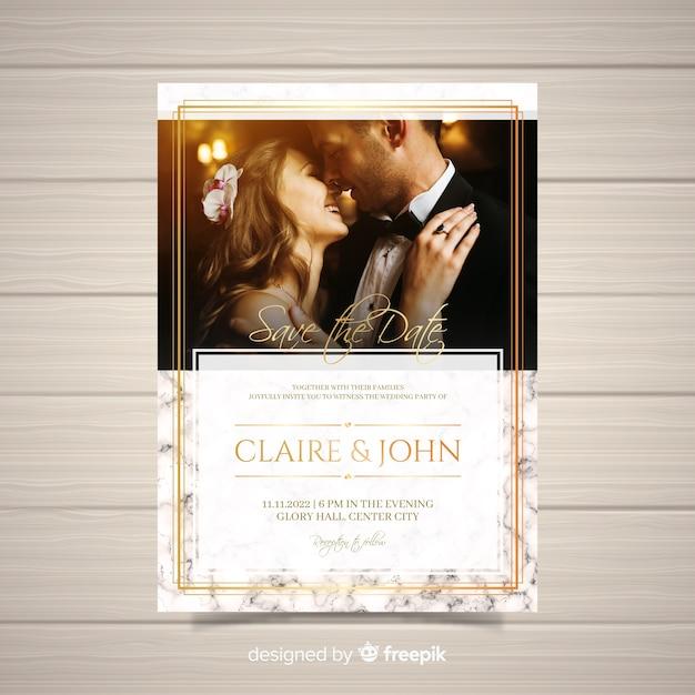 Hochzeitseinladungskarte mit foto Kostenlosen Vektoren