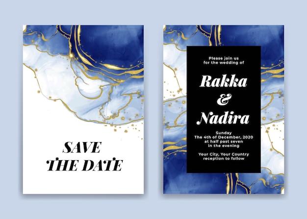 Hochzeitseinladungskarte mit goldenen blauen marinewellenformen Premium Vektoren