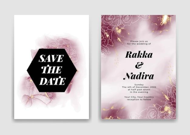 Hochzeitseinladungskarte mit goldenen burgunderwellenformen und rose Kostenlosen Vektoren