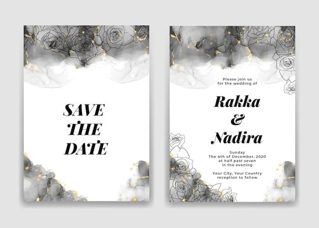 Hochzeitseinladungskarte mit goldenen schwarzen wellenformen und rose Premium Vektoren
