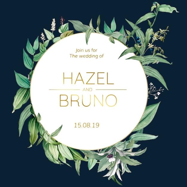 Hochzeitseinladungskarte mit grünem blattdesignvektor Kostenlosen Vektoren