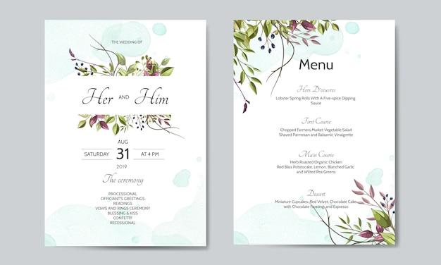 Hochzeitseinladungskarte mit grünen blättern vorlage Premium Vektoren