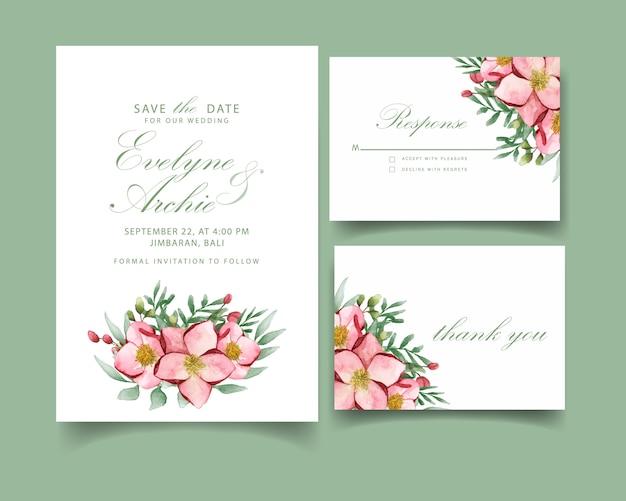 Hochzeitseinladungskarte mit magnolienblume Premium Vektoren