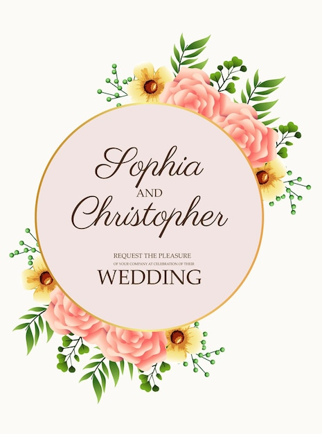 Hochzeitseinladungskarte mit rosa blumen in der goldenen kreisförmigen rahmenillustration Premium Vektoren