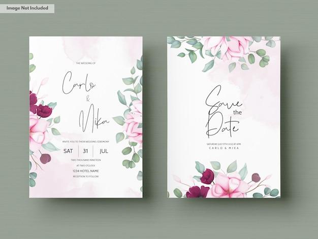 Hochzeitseinladungskarte mit schönen blühenden blumen Kostenlosen Vektoren