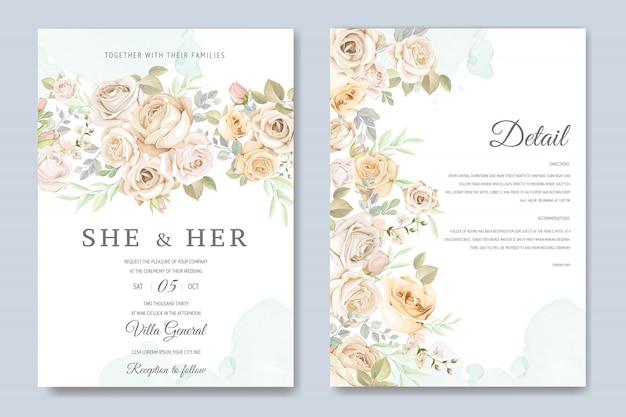 Hochzeitseinladungskarte mit schönen blumen und blättern Premium Vektoren