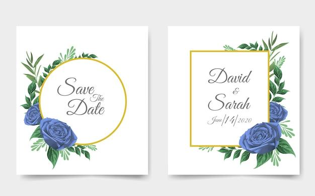 Hochzeitseinladungskarte mit schönen blumen Premium Vektoren