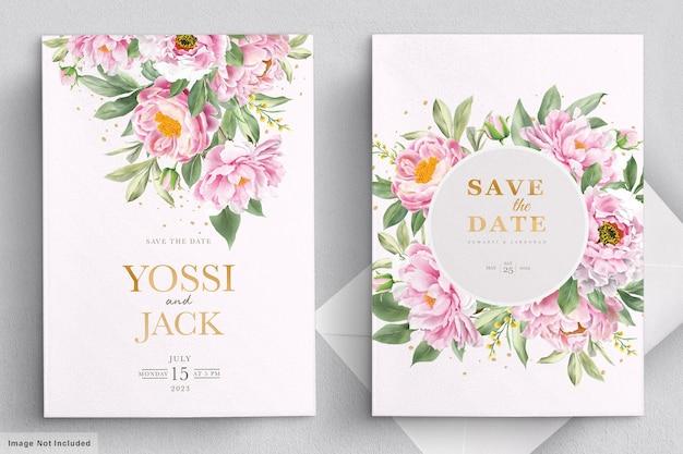 Hochzeitseinladungskarte mit schönen blumen Kostenlosen Vektoren