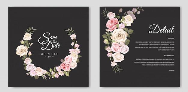 Hochzeitseinladungskarte mit schönen floralen vorlage Premium Vektoren