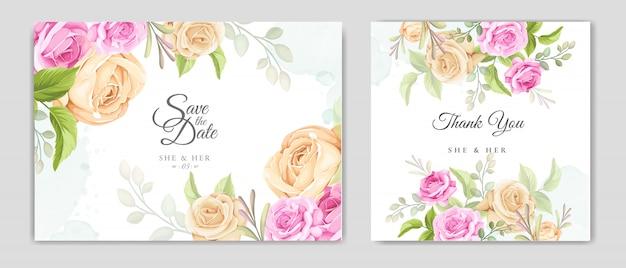 Hochzeitseinladungskarte mit schönen rosen vorlage Premium Vektoren