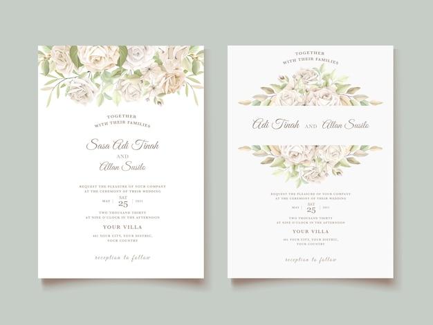 Hochzeitseinladungskarte mit schönen rosen Kostenlosen Vektoren