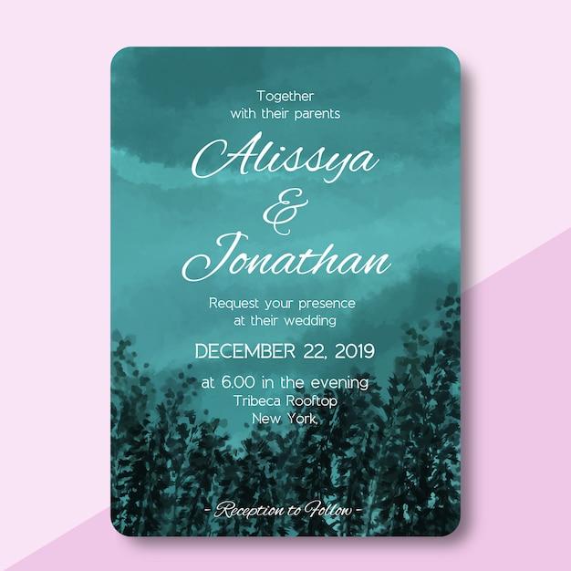 Hochzeitseinladungskarte mit waldlandschaftsaquarell Premium Vektoren