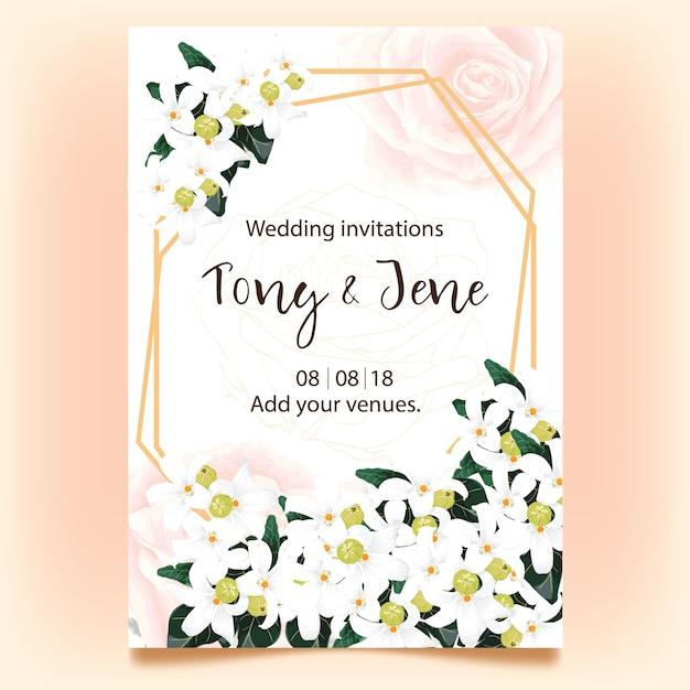 Hochzeitseinladungskarte mit wilden weißen blumen. Premium Vektoren