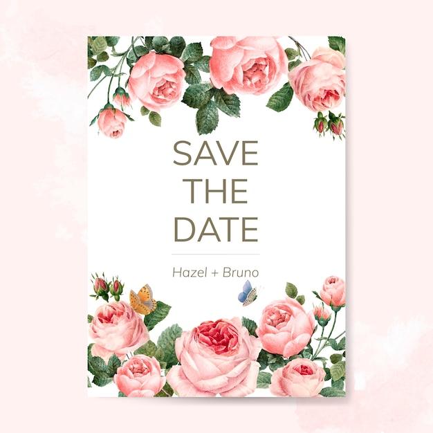 Hochzeitseinladungskarte verziert mit rosenvektor Kostenlosen Vektoren