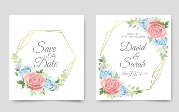 Hochzeitseinladungskarte vorlage Premium Vektoren