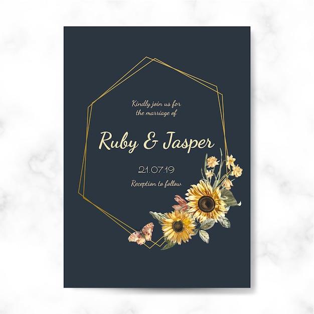 Hochzeitseinladungskarten-modellvektor Kostenlosen Vektoren
