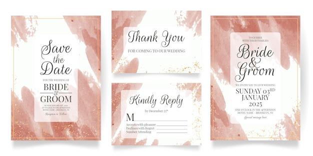 Hochzeitseinladungskarten-satzschablone mit aquarellhintergrund Premium Vektoren