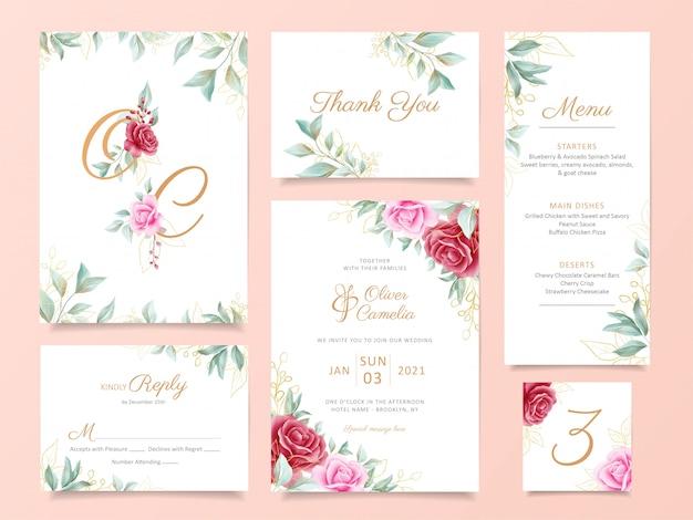 Hochzeitseinladungskarten-schablonenreihe mit eleganter blumen- und golddekoration Premium Vektoren