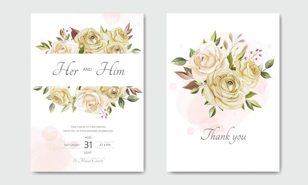 Hochzeitseinladungskarten-schablonensatz mit schönen blumenblättern Premium Vektoren
