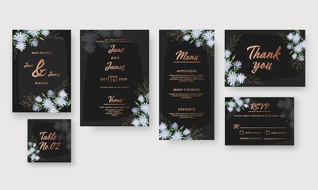 Hochzeitseinladungskarten-set verziert mit gänseblümchenblumen in der farbe schwarz und bronze. Premium Vektoren