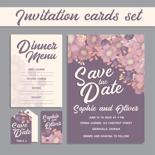 Hochzeitseinladungskarten-suite mit blumenvorlagen. Kostenlosen Vektoren