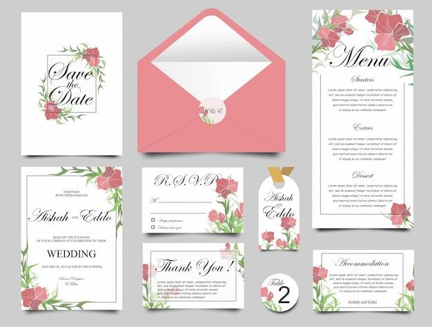 Hochzeitseinladungskarten Premium Vektoren