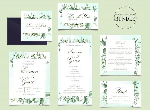 Hochzeitseinladungskartenbündel mit grün verlässt schablone Premium Vektoren