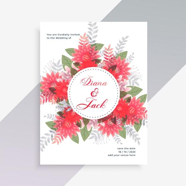 Hochzeitseinladungskartendesign mit blumendekoration Kostenlosen Vektoren