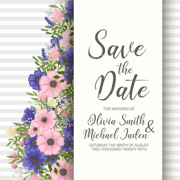 Hochzeitseinladungskartenreihe mit blumen. vorlage. vektor-illustration Kostenlosen Vektoren