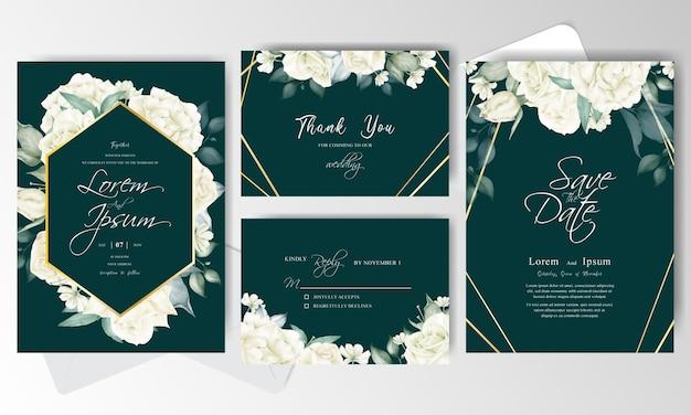 Hochzeitseinladungskartensatzvorlage Premium Vektoren