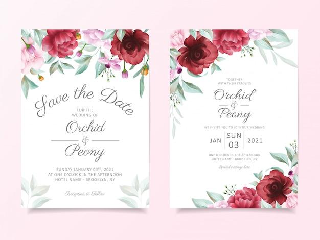 Hochzeitseinladungskartenschablone eingestellt mit blumengrenzdekoration Premium Vektoren