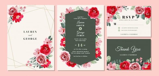 Hochzeitseinladungskartenschablone eingestellt mit schönem blumenaquarell Premium Vektoren